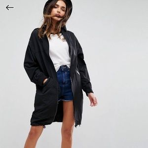 Asos Midi Rain Jacket Size 0 Black